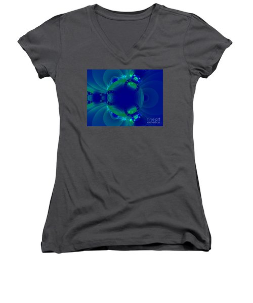 Blue Green Globe Luminant Fractal Women's V-Neck