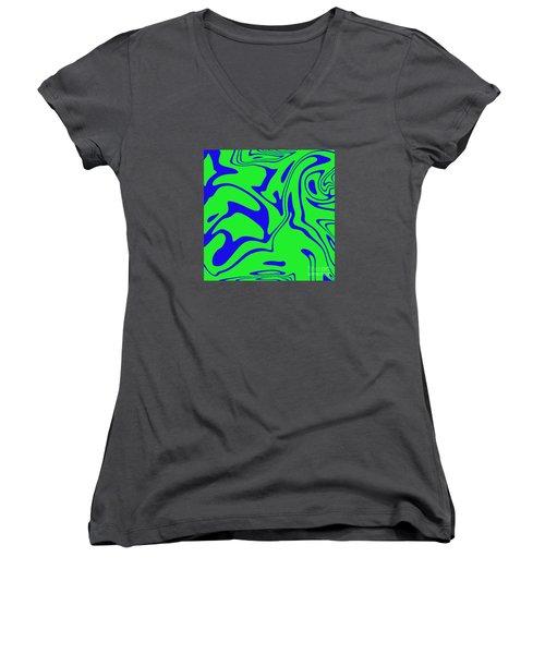 Blue Green Retro Abstract Women's V-Neck T-Shirt
