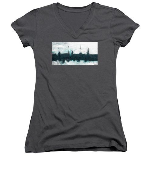 Women's V-Neck T-Shirt (Junior Cut) featuring the painting Blue Harbour by Carmen Guedez