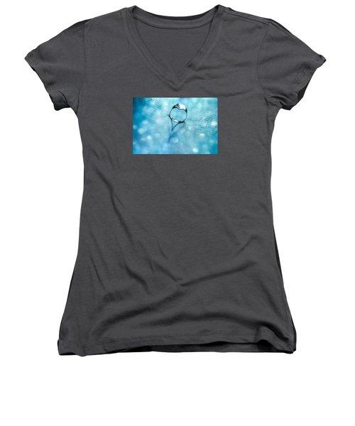 Blue Heart Women's V-Neck T-Shirt (Junior Cut) by Martina Fagan