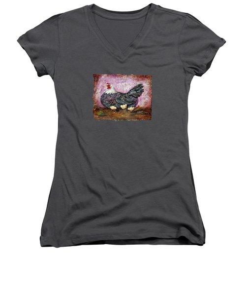 Blue Hen With Chicks Fresco Black Background Women's V-Neck T-Shirt