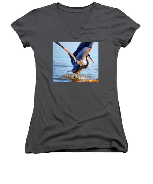 Women's V-Neck T-Shirt (Junior Cut) featuring the photograph Blue Heron by Sumoflam Photography