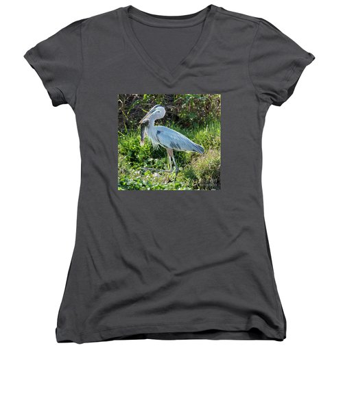 Blue Heron With Fish Women's V-Neck