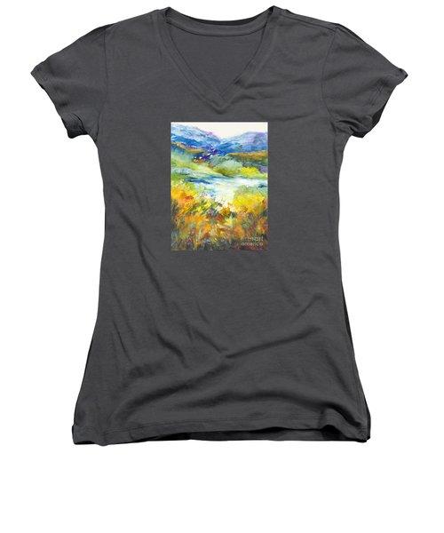 Blue Hills Women's V-Neck T-Shirt (Junior Cut) by Glory Wood