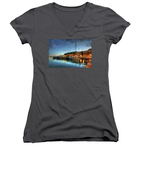 Women's V-Neck T-Shirt (Junior Cut) featuring the photograph Blue Hour At Port Nice 2.0 by Yhun Suarez