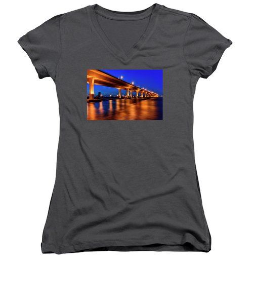 Women's V-Neck T-Shirt (Junior Cut) featuring the photograph Blue Hour At Roosevelt Bridge In Stuart Florida  by Justin Kelefas