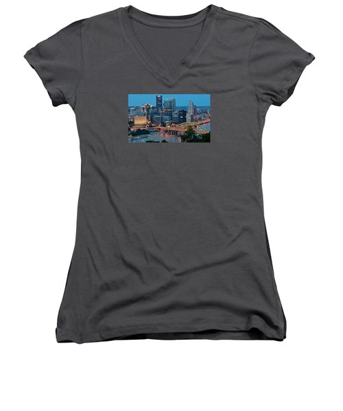 Blue Hour In Pittsburgh Women's V-Neck T-Shirt (Junior Cut) by Frozen in Time Fine Art Photography
