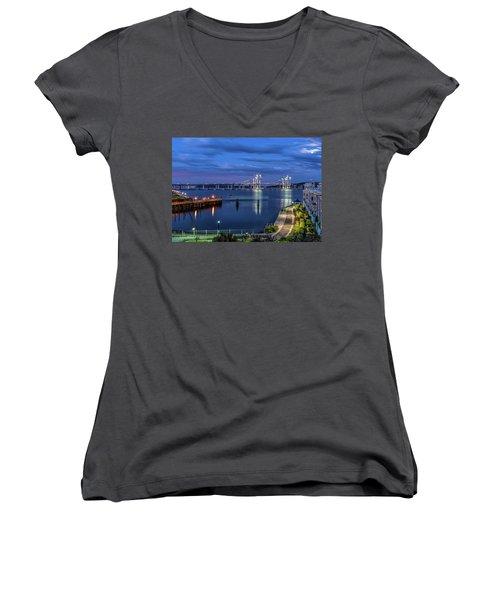 Blue Hour Over The Hudson Women's V-Neck T-Shirt (Junior Cut) by Jeffrey Friedkin