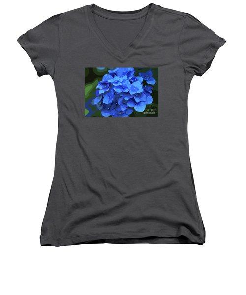 Blue Hydrangea Stylized Women's V-Neck (Athletic Fit)