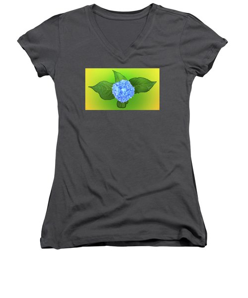 Women's V-Neck T-Shirt (Junior Cut) featuring the photograph Blue Hydrangea by Mike Breau