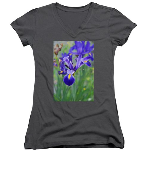 Blue Iris Flower Women's V-Neck