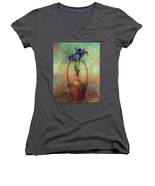 Women's V-Neck T-Shirt featuring the digital art Blue Iris In A Basket by Lois Bryan