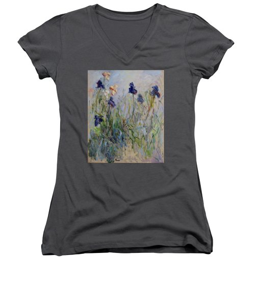 Blue Irises In The Field, Painted In The Open Air  Women's V-Neck T-Shirt (Junior Cut) by Pierre Van Dijk