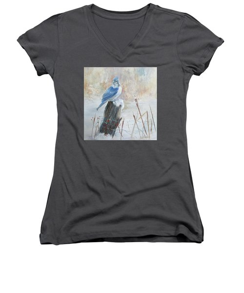 Blue Jay In Winter Women's V-Neck (Athletic Fit)