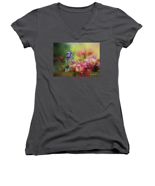 Blue Jay On A Blooming Tree Women's V-Neck