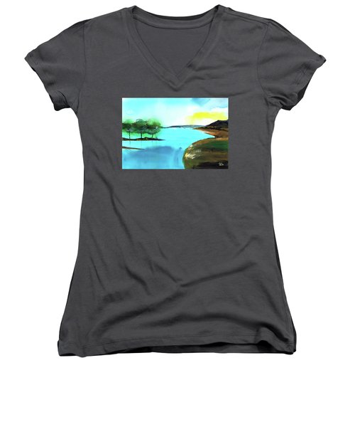 Women's V-Neck T-Shirt (Junior Cut) featuring the painting Blue Lake by Anil Nene
