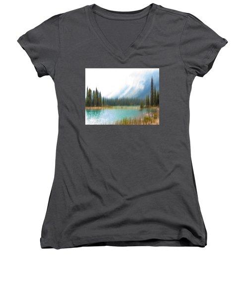 Blue Lake Women's V-Neck T-Shirt (Junior Cut) by Catherine Alfidi