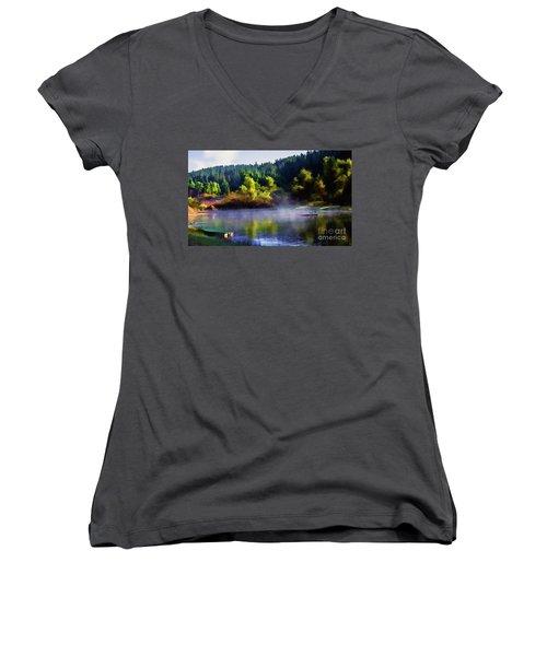 Blue Lake Spring Misty Geese  Women's V-Neck T-Shirt