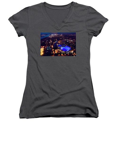 Blue Lsu Tiger Stadium Women's V-Neck T-Shirt (Junior Cut) by Andy Crawford