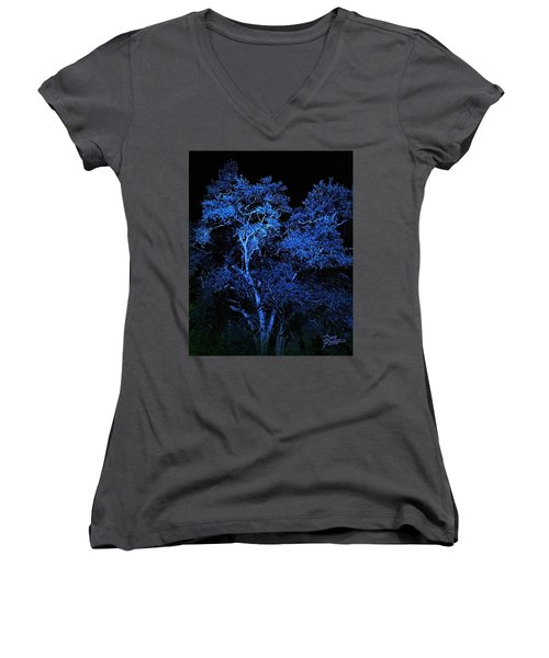 Women's V-Neck T-Shirt (Junior Cut) featuring the digital art Blue Magic by Doug Kreuger