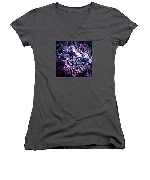 Blue Magnolias Women's V-Neck T-Shirt (Junior Cut) by Karen Lewis
