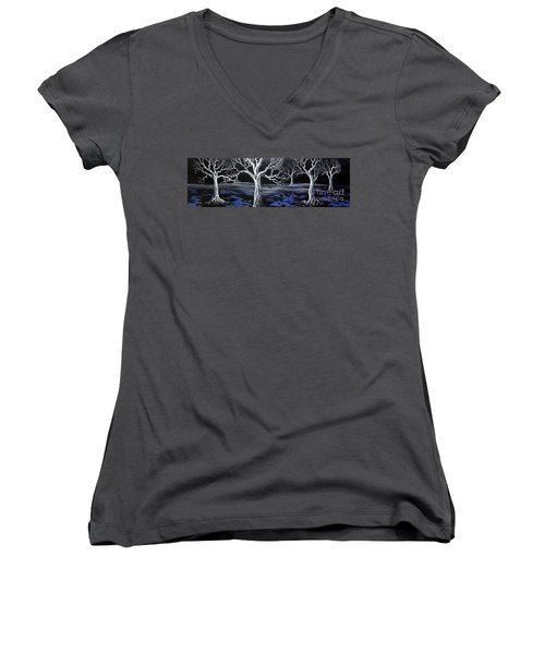 Blue Medadow Women's V-Neck T-Shirt (Junior Cut) by Kenneth Clarke