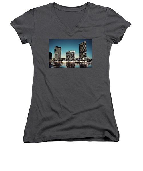 Blue Melbourne Women's V-Neck T-Shirt (Junior Cut) by Joseph Westrupp