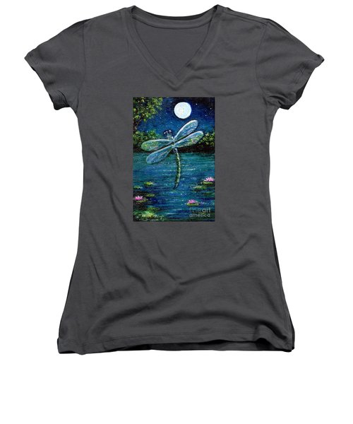 Blue Moon Dragonfly Women's V-Neck T-Shirt (Junior Cut) by Sandra Estes