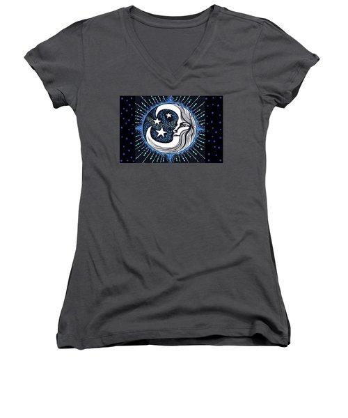 Blue Moon Greeting Card 02 Women's V-Neck T-Shirt