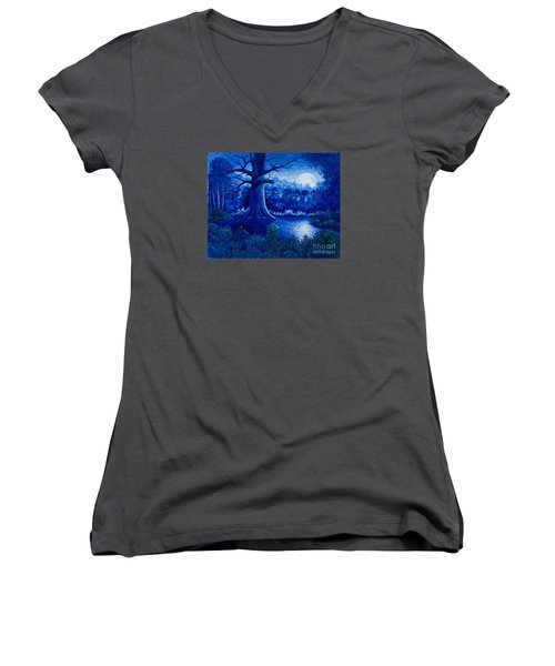 Women's V-Neck T-Shirt (Junior Cut) featuring the painting Blue Moon by Michael Frank