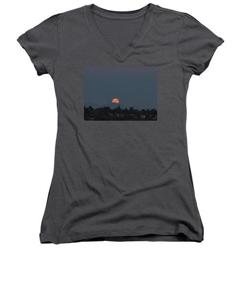 Women's V-Neck T-Shirt (Junior Cut) featuring the photograph Blue Moon.1 by E Faithe Lester