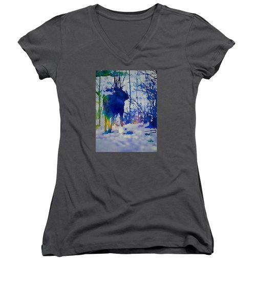 Blue Moose Women's V-Neck T-Shirt (Junior Cut) by Jan Amiss Photography
