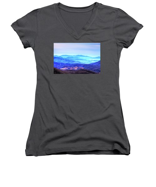 Blue Mountain Mist Women's V-Neck T-Shirt (Junior Cut) by Dale R Carlson