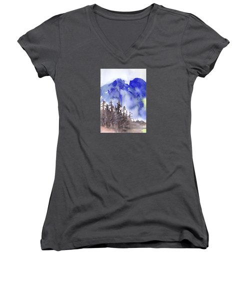 Women's V-Neck T-Shirt (Junior Cut) featuring the painting Blue Mountains by Yolanda Koh