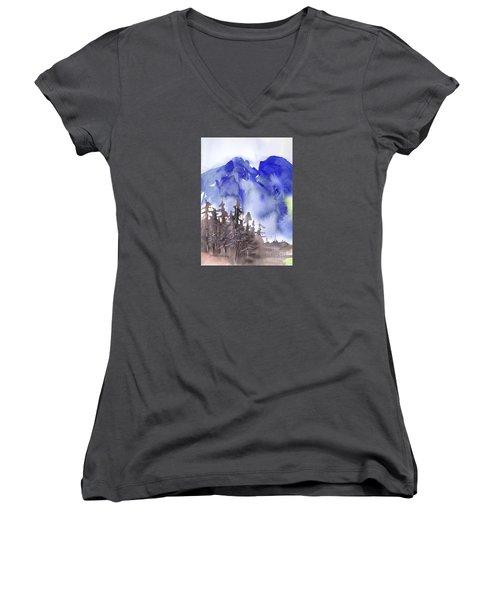 Blue Mountains Women's V-Neck T-Shirt (Junior Cut) by Yolanda Koh