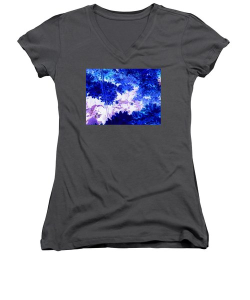 Blue Mums And Water Women's V-Neck