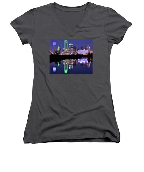 Women's V-Neck T-Shirt (Junior Cut) featuring the photograph Blue Night And Reflections In Dallas by Frozen in Time Fine Art Photography
