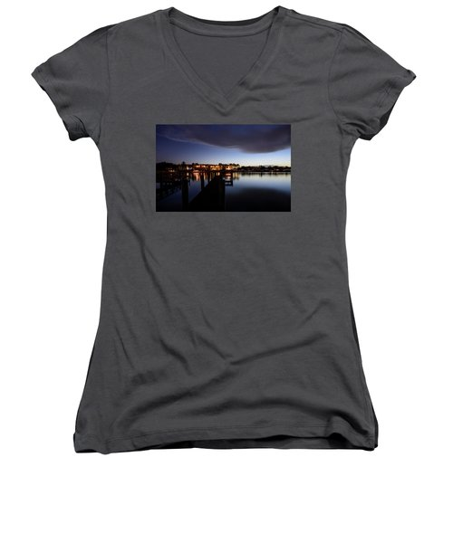 Women's V-Neck T-Shirt (Junior Cut) featuring the photograph Blue Night by Laura Fasulo