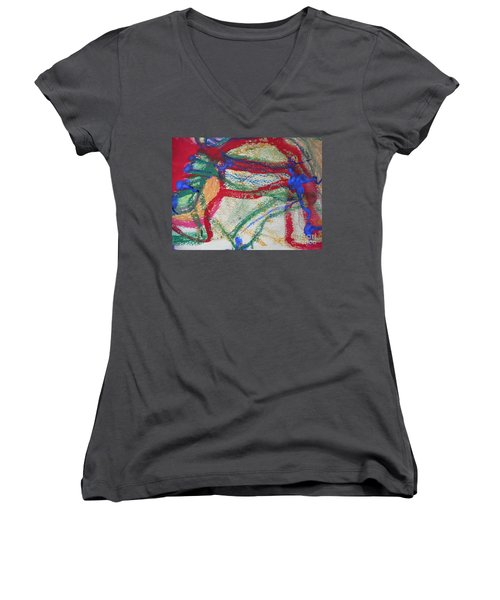 Blue On Red Women's V-Neck