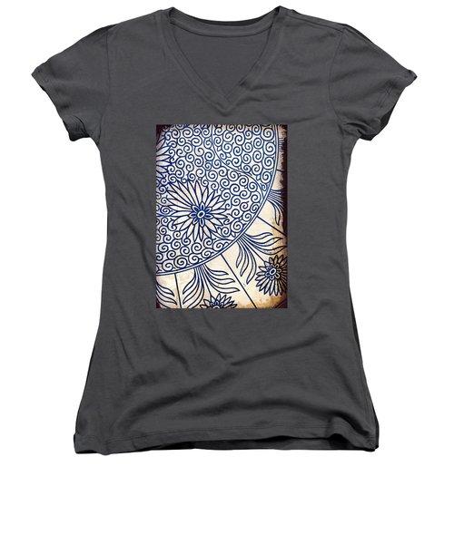 Blue Oriental Vintage Tile 01 Women's V-Neck (Athletic Fit)