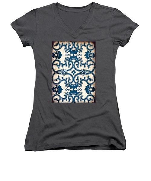 Blue Oriental Vintage Tile 02 Women's V-Neck (Athletic Fit)