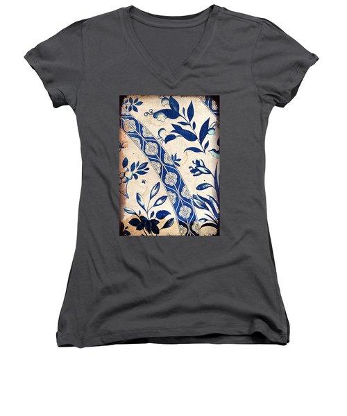 Blue Oriental Vintage Tile 04 Women's V-Neck (Athletic Fit)