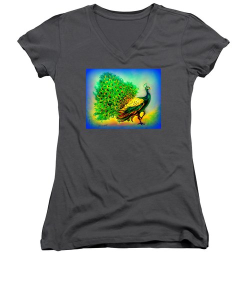 Blue Peacock Women's V-Neck T-Shirt (Junior Cut) by Yolanda Rodriguez