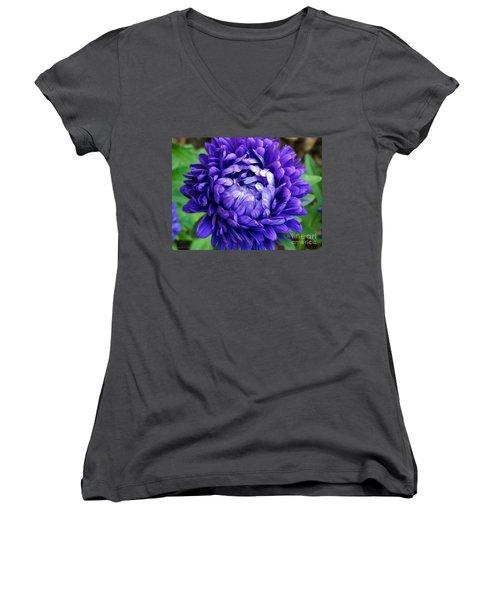 Women's V-Neck T-Shirt (Junior Cut) featuring the photograph Blue Petals by Gena Weiser