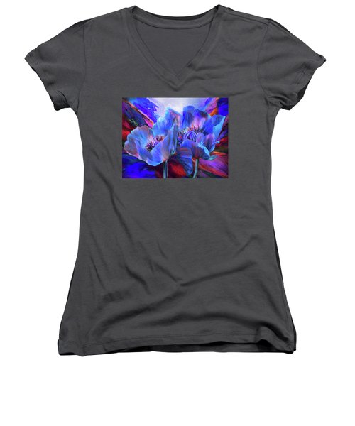 Women's V-Neck T-Shirt featuring the mixed media Blue Poppies On Red by Carol Cavalaris