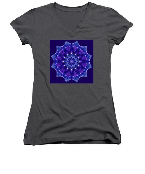 Blue And Purple Mandala Fractal Women's V-Neck