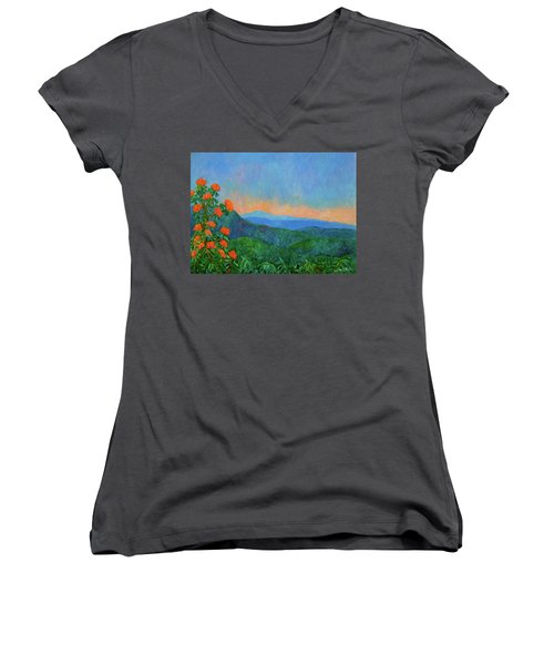 Blue Ridge Morning Women's V-Neck T-Shirt (Junior Cut) by Kendall Kessler