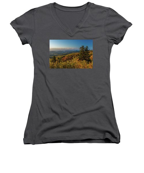 Blue Ridge Mountain Autumn Vista Women's V-Neck