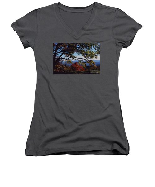 Blue Ridge Mountain View Women's V-Neck T-Shirt (Junior Cut) by Debra Crank