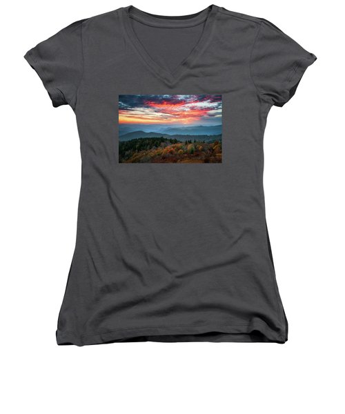 Blue Ridge Parkway Autumn Sunset Scenic Landscape Asheville Nc Women's V-Neck